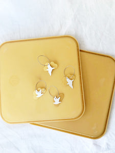 Recycled plastic earrings, Flocking Birds mixed, ice cream lids, Made in NZ