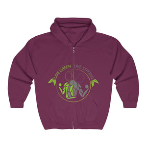 Live Green Live Strong Full Zip Hooded Sweatshirt
