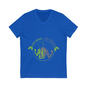 Live Green Live Strong Short Sleeve V-Neck Tee