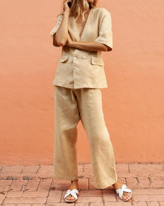 Temperament Cotton And Linen Horizontal Two Buckle Trouser Suit