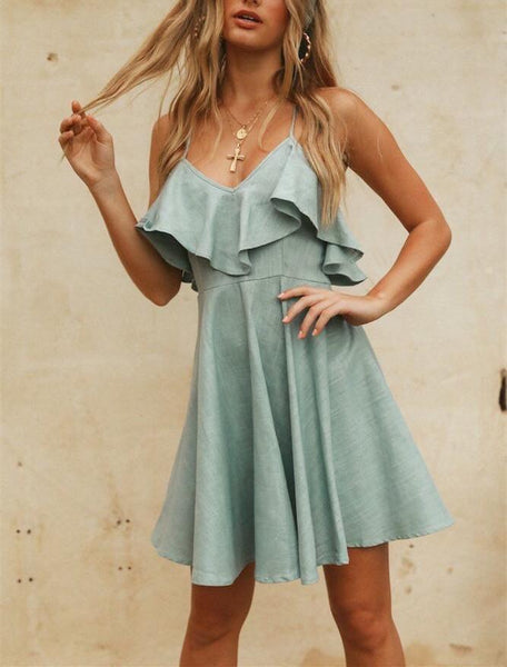 Fashion Sexy Backless   Flouncing Long Sleeve Mini Dress