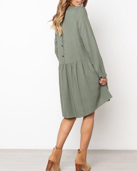 Round Neck Long Sleeve Cotton And Linen Pleated Dress