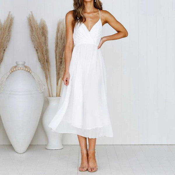 Fashion Sexy Strap V-Neck   Wrapped Chest Dress