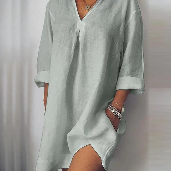 Casual Loose V-Neck Cotton And   Linen Dress