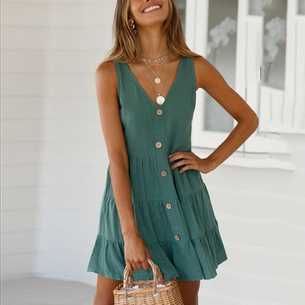 Fashion Casual V-Neck Slim Solid   Color Mini Dresses