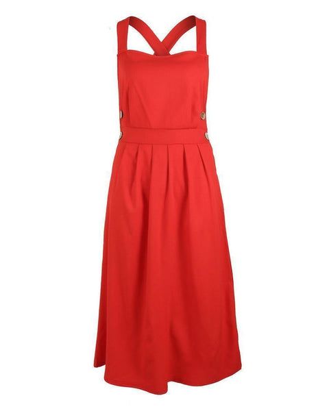 Sexy Strap Buttoned Waist Pleated Dress