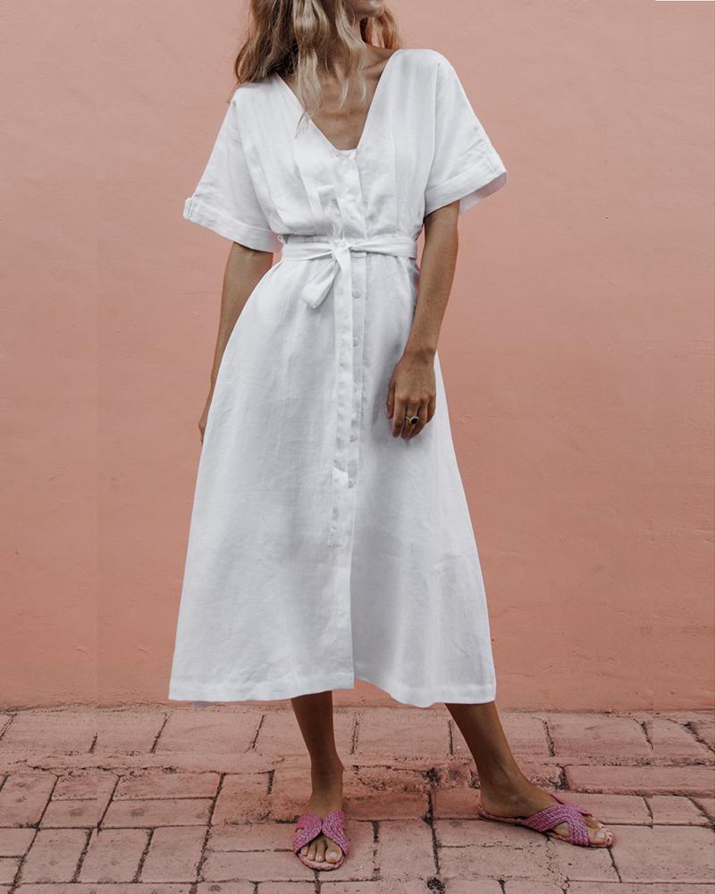 V-Neck Belt Cotton And Linen Comfort Dress