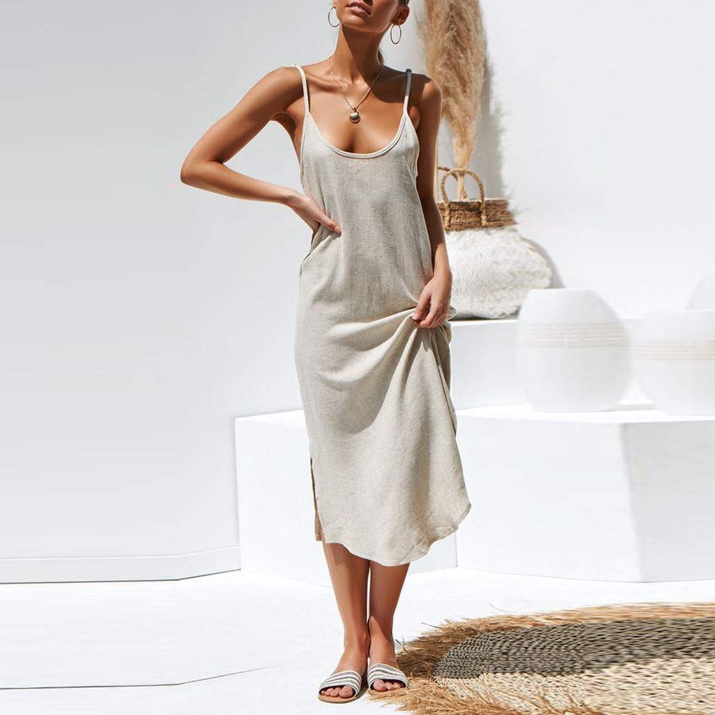 Fashion Casual V-Neck Solid   Color Sling Cotton And Linen Long Dress