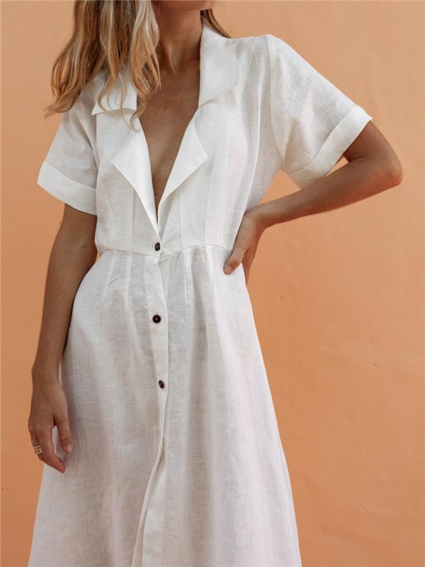 Fashion Single-Breasted Lapel Solid Color Cotton Linen Dresses