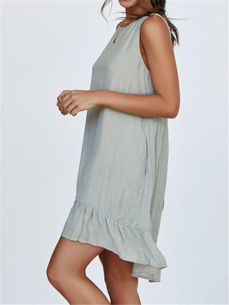 Fashion Round Neck Sleeveless Ruffled A-Line Dresses