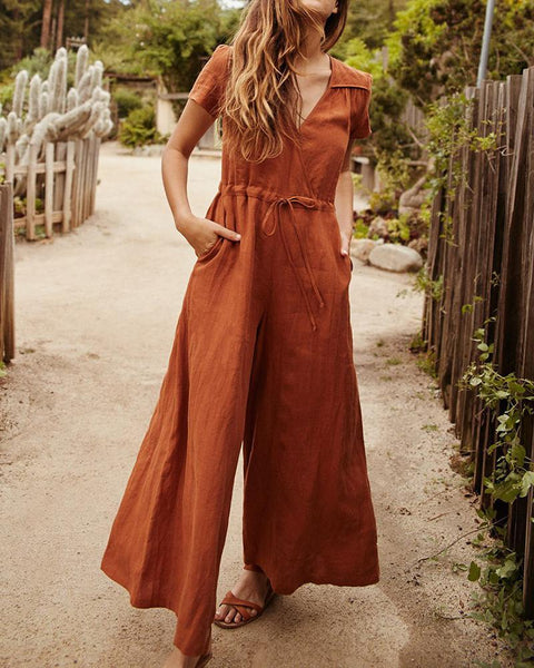 Casual Pure Color V Neck Jumpsuits