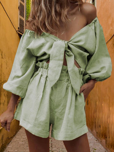 Sexy Pure Color Off Shoulder Bowknot Suit
