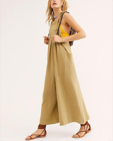 Fashion Casual Pressure Plait Pure Colour Halter Jumpsuits