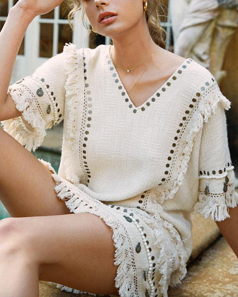 V Collar Fringe Half Sleeve Loose Dress