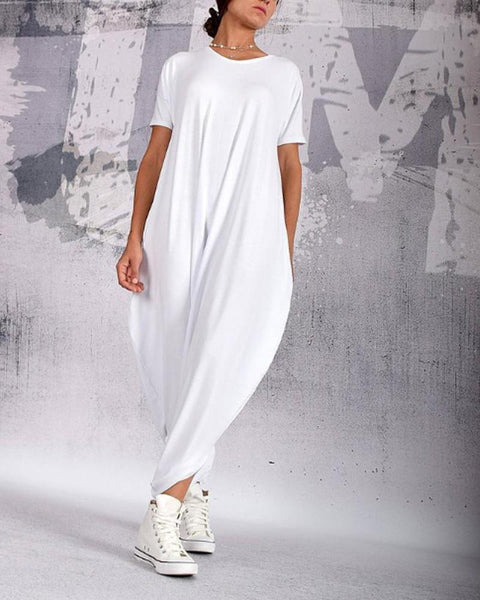 Pure-Color Round-Collar Short-Sleeve Loose Jumpsuit