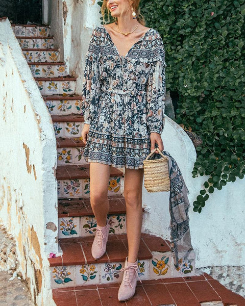 Lantern Sleeve Printed Elastic Waist Dress