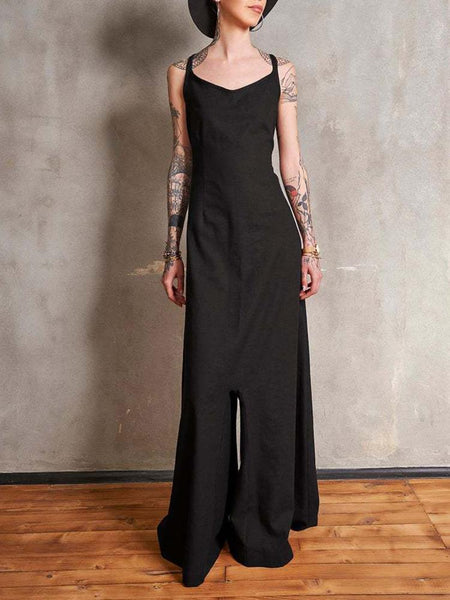 Casual Round Neck Large Swing Jumpsuit