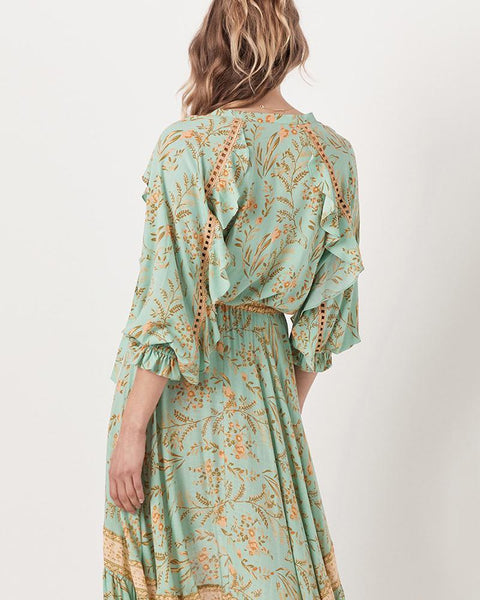 Casual V Neck Halflong Sleeve Printed Colour Dress