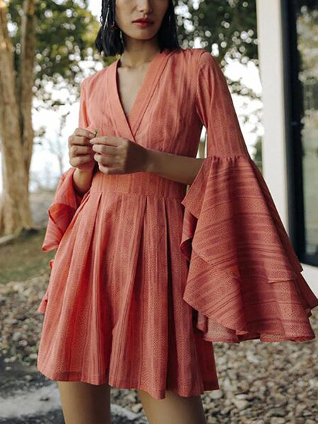 V Collar Petal Sleeve Long Sleeved Dress