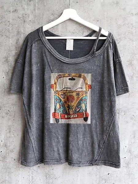 Casual Round Neck Short Sleeve Lumbar Printed Colour T-Shirt