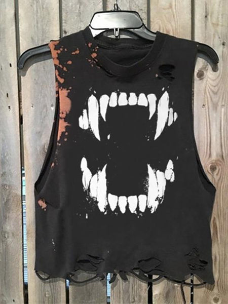 Men's Round Collar Sleeveless Printing Broken Holes Vest