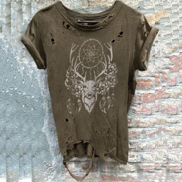 Men's Round Collar Short-Sleeved Broken Holes Distressed T-Shirts