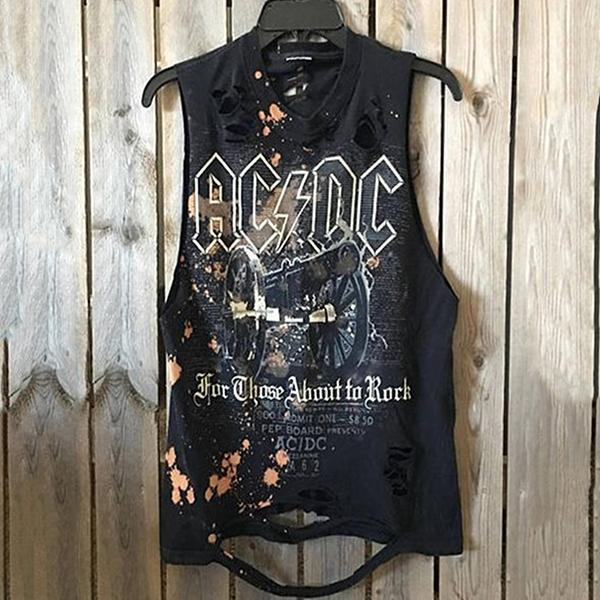 Men's Street Broken Hole Printed Vest