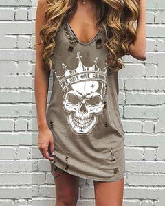 V Collar Sling Printed Broken Holes Distressed Dress