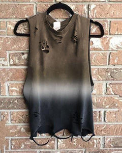 Round Collar Sleeveless Broken Holes Loose T-Shirt