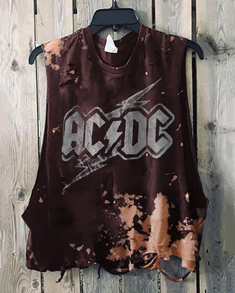 Round Collar Sleeveless Print Broken Holes T-Shirt.
