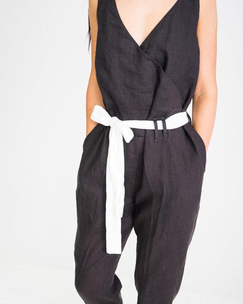 Pure Color Bare Back V-Collar Sleeveless Jumpsuit