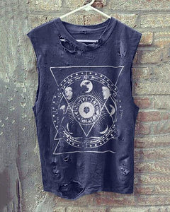 Vintage Round Neck Sleeveless Broken Holes T-Shirt