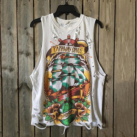 Fashion Printed Broken Hole Vest