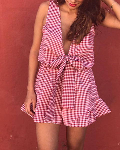 Casual V Neck Sleeveless Check Jumpsuits