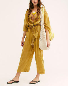 Pure Color Lapel Single Breasted Elastic Waist Jumpsuit