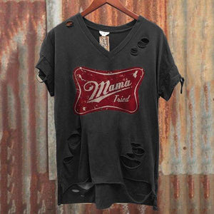 Men's V Collar Short-Sleeved Printed Broken Holes Distressed T-Shirt