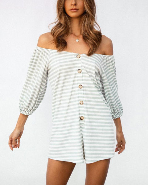 Sexy Open Shoulders Long Sleeves Loose Striped Jumpsuits