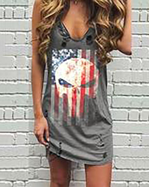 Sexy Open Shoulder Sling Printed Broken Holes Distressed Dress