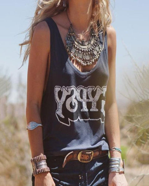 Casual Round Neck Sleeveless Printed Colour T-Shirt