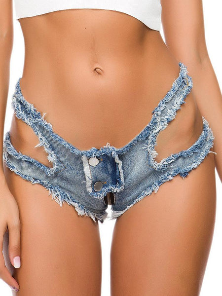 Sexy Low-Waisted Broken Holes Back Zip Denim Shorts.