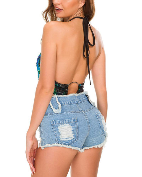 Sexy High Waist Broken Holes Tie-Cord Cowboy Shorts