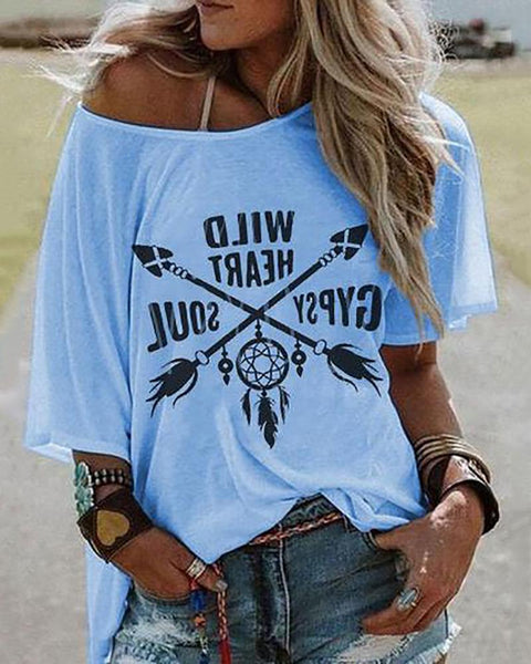 Casual Single Off Shoulder Collar Short Sleeve Printed T-Shirt