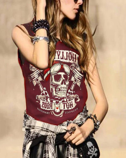 Casual Round Neck Letter Sleeveless Print Vest