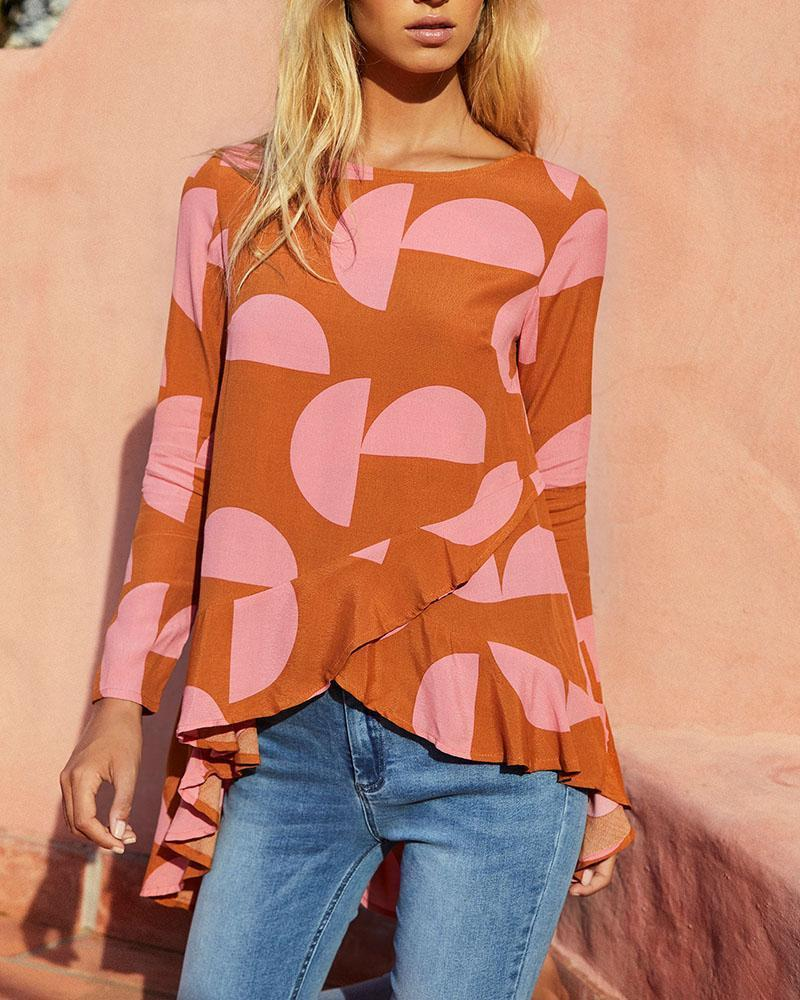 Round Neck Geometric Print Swallowtail Shirt