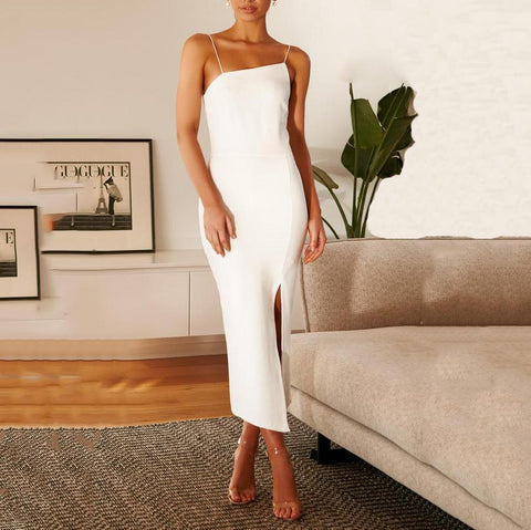 (Video)Sexy Sling Sleeveless Solild Color Backless Split Dress