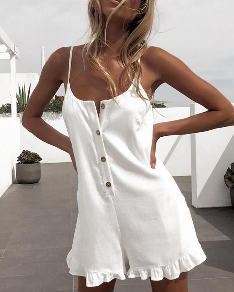 Sling Buckle Ruffled Jumpsuit