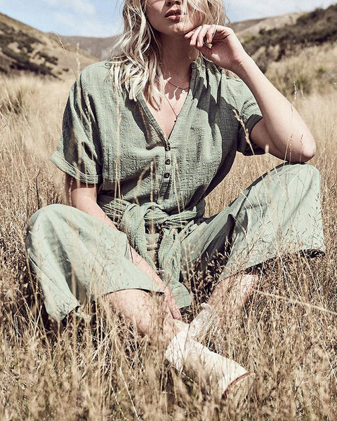 V-Neck Button Shirt Linen Trouser Suit
