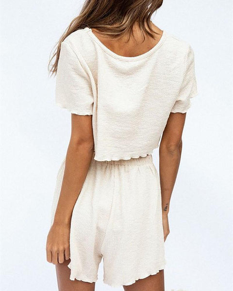 Round Neck Cropped Short T & Shorts Suit