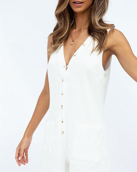 V-Neck Button Lace Pocket Jumpsuit