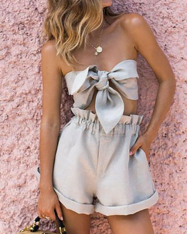 Fashion Sexy Belted Strapless Shorts Suits